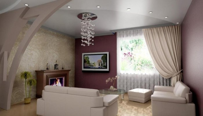 Несколько десятков вариантов, разнообразить свой интерьер с помощью фальшь стен, и подвесных потолков из гипсокартона